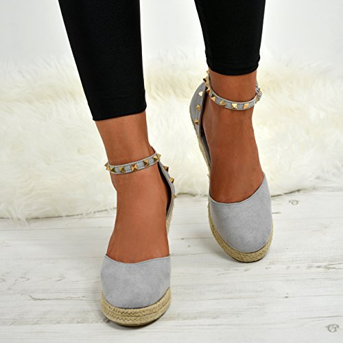 Ladies Womens Espadrille Wedge Platforms High Heel Pumps Ankle Rock Studs Shoes Grey KUPqv