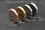 MetonBoss Spinning Worry Coins - Copper, Titanium, Brass & Stainless Steel | Gift Metal Worrycoin Desktop Toy | EDC Every Day Carry Toy (Polished Brass)