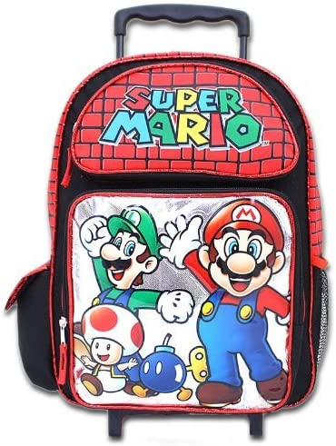 Large Rolling Backpack - Nintendo - Mario Red/Silver School Bag New 073569