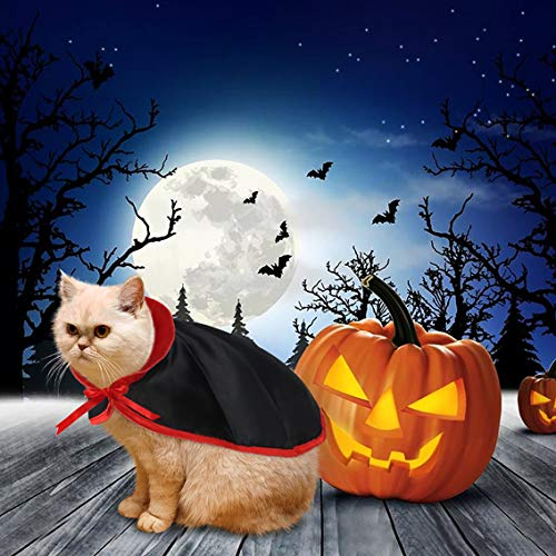 Idepet Dog Cat Cloak Vampire Halloween Costume Pet Cape Cosplay Puppy Kittens Red Black Fancy Christmas Holiday Costume Decoration Accessories Clothes for Small Medium Dogs Cats -