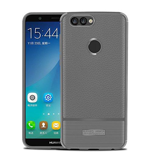 Funda Huawei P Smart,Funda Fibra de carbono Alta Calidad Anti-Rasguño y Resistente Huellas Dactilares Totalmente Protectora Caso de Cuero Cover Case Adecuado para el Huawei P Smart B