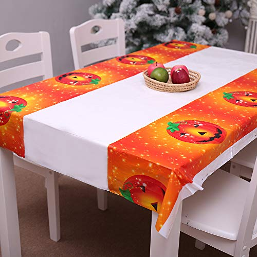 분위기 만점 할로윈 장식 테이블 크로스 발수 PE 180x108cm 할로윈 파티 장식 테이블 커버 도깨비집 가정용 장식 크로스 보낸다 (호박)