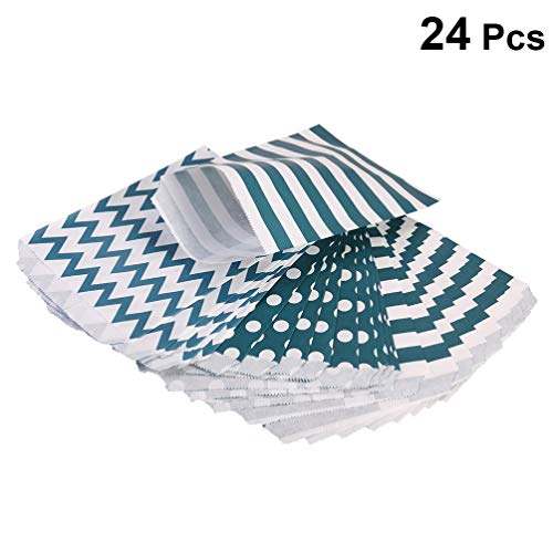 TOYANDONA 24pcs Candy Bag Paper Striped Dot Wavy Flower Shape Party Bags Treat for Wedding Birthday Party Baby Shower (4 Patterns Mixed Navy Green)