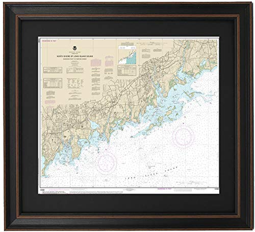 Patriot Gear Company | Framed Nautical Map 12368 : North Shore of Long Island Sound; Sherwood Point to Stamford Harbor- Standard Size