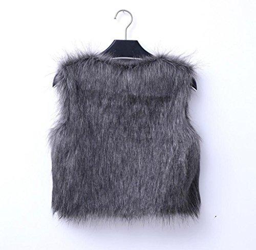 Tongshi Abrigo de piel sintética de chaleco sin mangas V-collar Outwear el chaleco de la chaqueta de las mujeres Gris oscuro