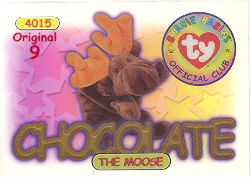 TY Beanie Babies BBOC Card - Series 1 Original 9 (RED) - CHOCOLATE the Moose