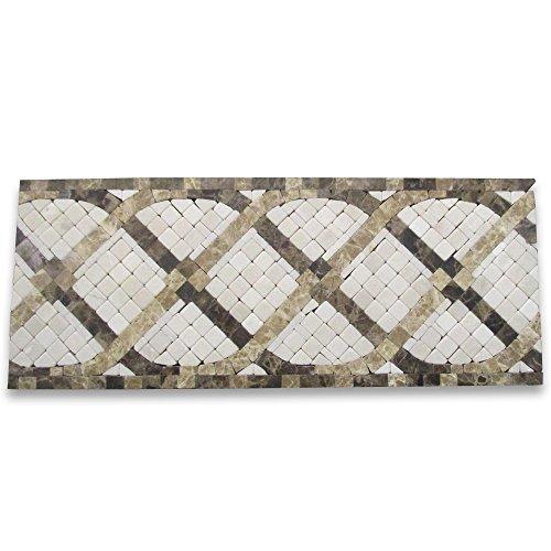 (Petra Emperador 4-3/4x12 Marble Mosaic Border Tumbled)