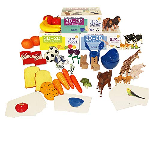 (Stages Learning Materials Language Builder 3D- 2D Noun Flash Cards and Realistic Toy Figures Vocabulary Autism Learning Products for ABA Therapy and Speech Articulation)