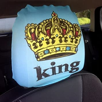 CAR SEAT HEAD REST COVERS 2 PACK KING QUEEN CROWN DESIGN MADE IN YORKSHIRE