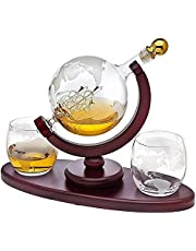 Globe Decanter with Antique Ship,Whiskey Decanter with Engraved Ball Glass for Liquor Whiskey Bourbon with 2 Glasses,Liquor Dispenser with Wooden Stand