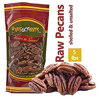 5-Pounds of 100% Natural Raw Pecan Nuts- Whole, Shelled & Unsalted Pecan Halves by We Got Nuts- Non GMO, No Preservatives- Kosher-Certified Healthy Snack- Packed Fresh In Air-Tight Resealable Bag
