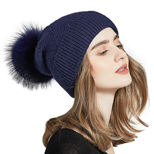 c4537798712228 SOMALER Womens Winter Hats Real Fur Pom pom Hat Knitted Slouchy Beanie 16  Colors