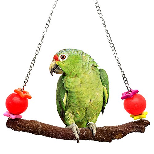 (Mrli Pet Colorful Bird Swing Toys with Natural Branches for Bird Parrot Canaries Finches Cockatiels Lovebirds Small Parakeets Parrotlets Cage Sanded Perch Chew Toy)