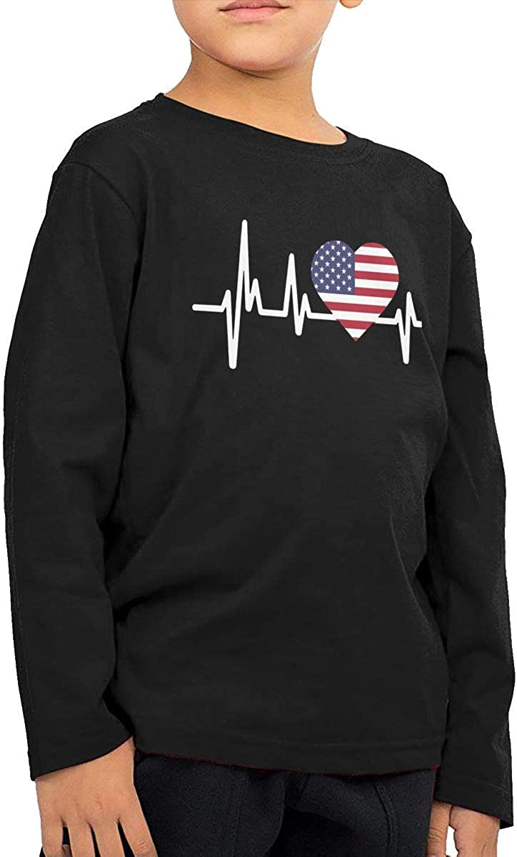 American Flag Flag Kids Crewneck Long Sleeve Shirt T-Shirt for Toddlers