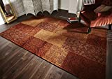 Lord of Rugs Traditional Manhattan Patchwork Chenille Rug in 2 sizes Carpet (Terracotta, 120x170cm (4'x5'6''))
