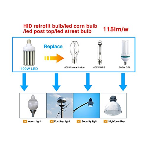 Used in Post Top//Acorn//Highbay// Lowbay Fixture orlich 27w Led Corn Bulb,Led Corn Light,3300 lumens,Repalce 100-150W Metal Halide Bulb,5000k White color