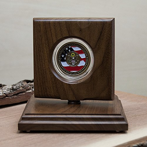 Challenge Coin Rotating Display Case - Natural Black Walnut Wood - For 45mm (1.75