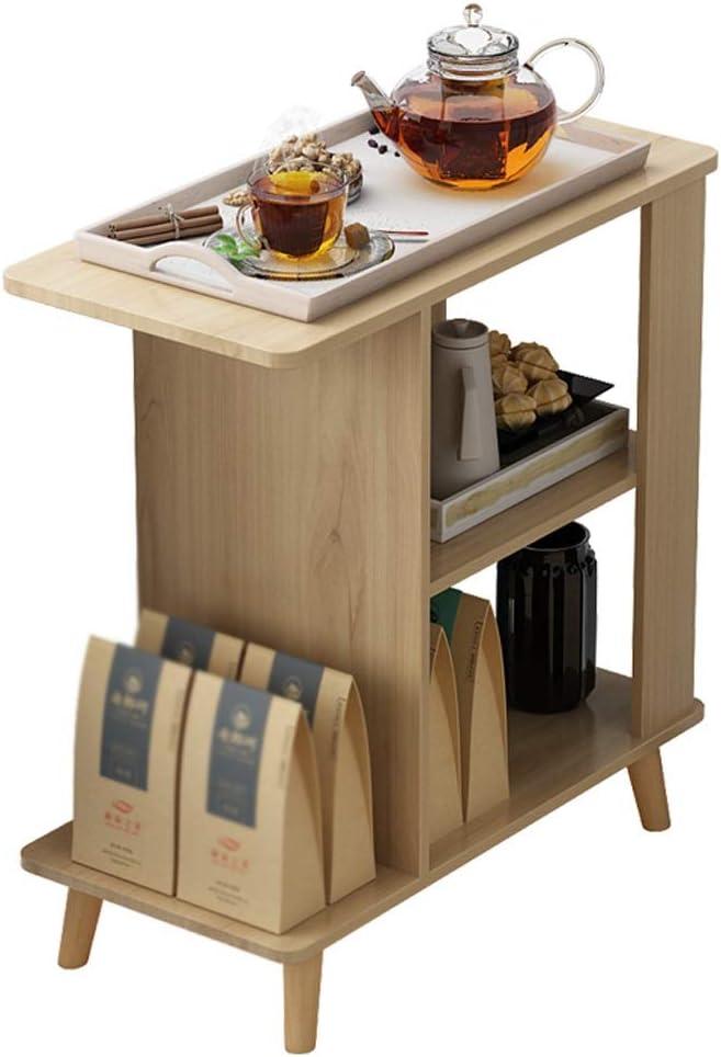 Hoge Kwaliteit Mujin Bijzettafel, salontafel, gelaagde opslag open voorvak, theetafel, woonkamer, balkon, kleine woning, sofa, 60 x 30 x 63 cm Wood Color 9tevfjY
