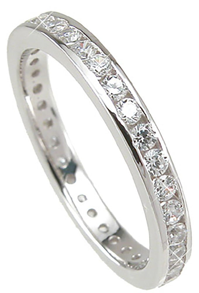 Sterling Silver Eternity Anniversary CZ Wedding Band Ring for Women Size 7