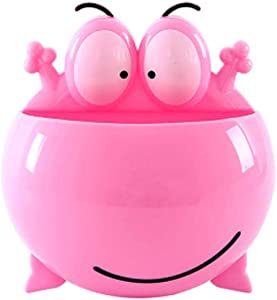 Kids Toothbrush Holder Toothpaste Dispenser Tooth Brush Holders For Bathroom Wall Mount Suction Cup Storage Organizer Decor Frog Kitchen Home for Motivating Your Children to Brush Their Teeth (Pink)