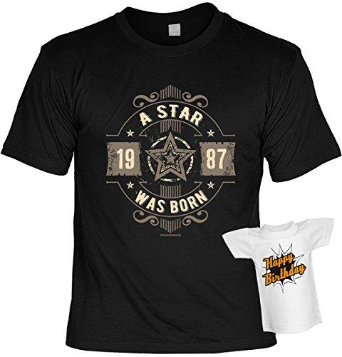 T-Shirt - 1987 A Star was born - mit Mini Shirt - Geschenk Set mit lustigem Spruch als ideales Geburtstagsgeschenk