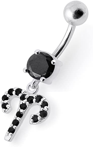 Fancy Dual Flower Dangling 925 Sterling Silver with Stainless Steel Belly Button Navel Rings