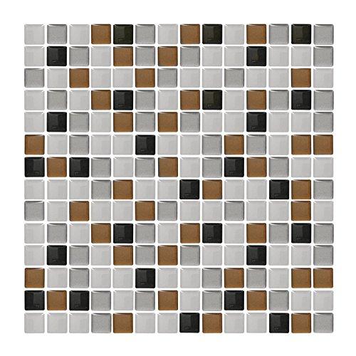 4 pezzi 25, 3 x 25, 3 x 25, 3 cm rosso beige argento adesivo per piastrelle I 3D piastrelle autoadesive piastrelle arredamento cucina bagno parete adesiva foglio adesivo Grandora W5202 Articolo