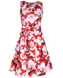 Kilig Women's Christmas Sleeveless Pockets Flare Swing Party Cocktail Dresses(Floral01, XL)