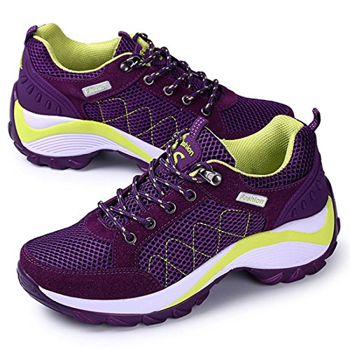 JINGJING Women's Lightweight Athletic Running Shoes Black Mesh Breathable Sports Fitness Jogging Sneakers (9, Purple)