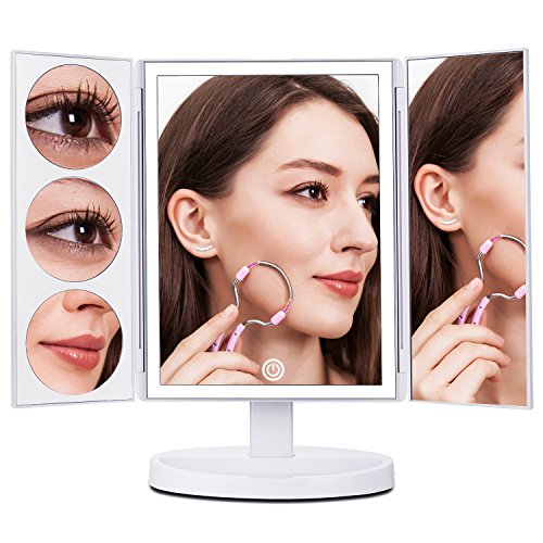 MAKARTT XLarge Lighted Big Makeup Mirror 3X/5X/10X Magnifying Trifold Vanity Mirror Best Gift for Women White