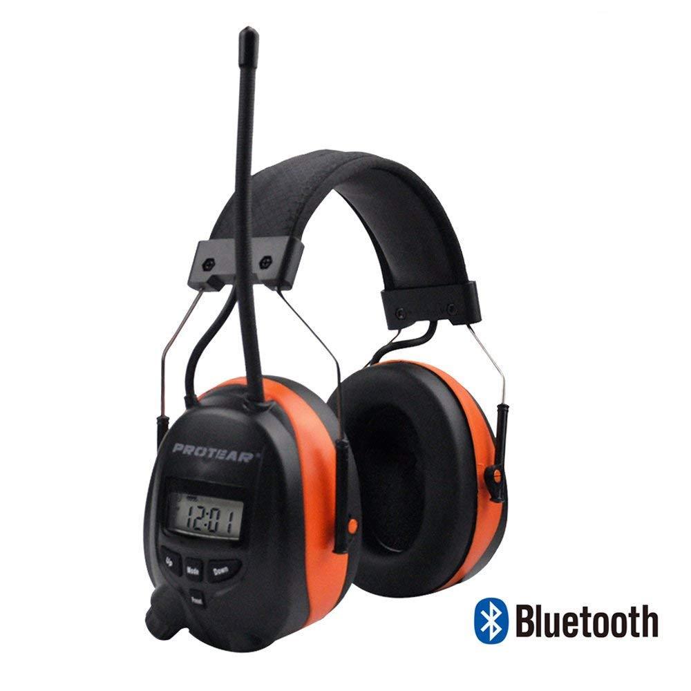 Protear Bluetooth & Radio Am/FM Protector de Oí do Protecció n auditiva Seguridad Orejeras con Pantalla Digital para Trabajo Mowing, Certificado SNR 30 dB