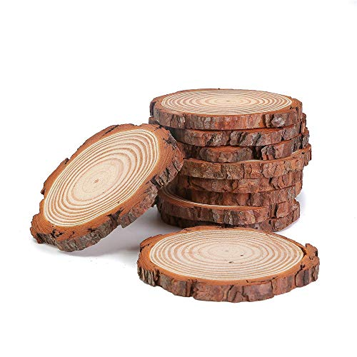 Natural Wood Slices with Tree Bark,12pcs 3-3.5 inch Wood Discs for Centerpieces Coasters Ornaments DIY Crafts]()