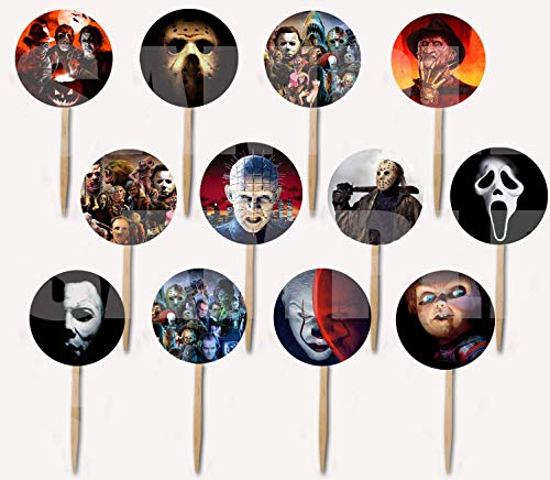 Horror Movie Icons Cupcake Picks Cake Toppers -12 pcs, Halloween Film Jason Freddy Krueger Leatherface Michael Myers Chucky Pinhead Screamer Ghost Face