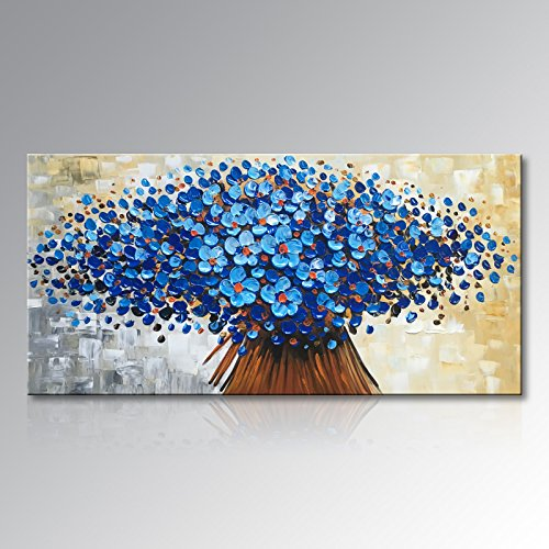 Winpeak Art Hand Painted Abstract Canvas Wall Art Modern Textured Blue Flower Oil Painting Contemporary Artwork Floral Hangings Stretched And Framed Ready to Hang (32'' W x 16'' H, Blue) by Winpeak Art
