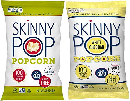 Skinny Pop Popcorn 10 Pack .65 oz Original & White Cheddar 100 Calorie Bag Variety
