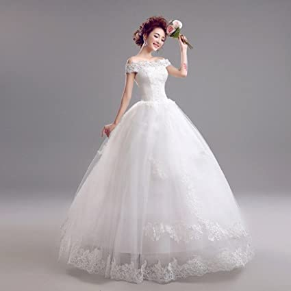 MOMO Korean v-neck princess bride lace wedding dress,white,XL
