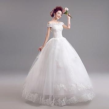 AN Vestido de novia coreano con cuello en v princesa novia,blanco,S