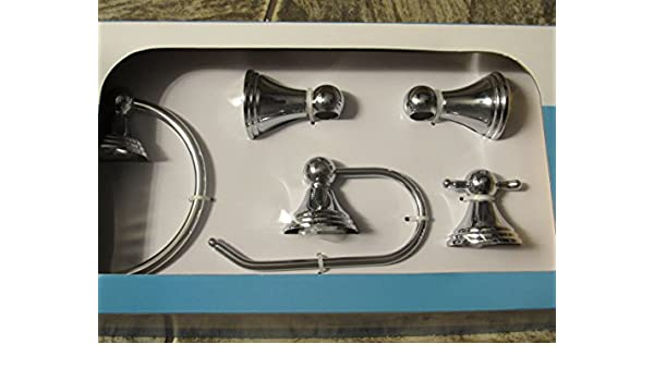 Amazon.com: Moen Preston DN8494CH - 4 Piece Chrome Bath Accessory Kit with 18 inch Bar Toilet Paper Holder Towel Ring and Double Robe Hook: Home & Kitchen