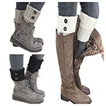 Santwo Women Winter Warm Crochet Knitted Boot Cuff Sock Short Leg Warmer 3 Pairs