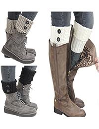 Women Winter Warm Crochet Knitted Boot Cuff Sock Short Leg Warmer 3 Pairs