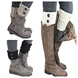 Santwo Women Winter Warm Crochet Knitted Boot Cuff Sock Short Leg Warmer 3 Pairs (Model 1)