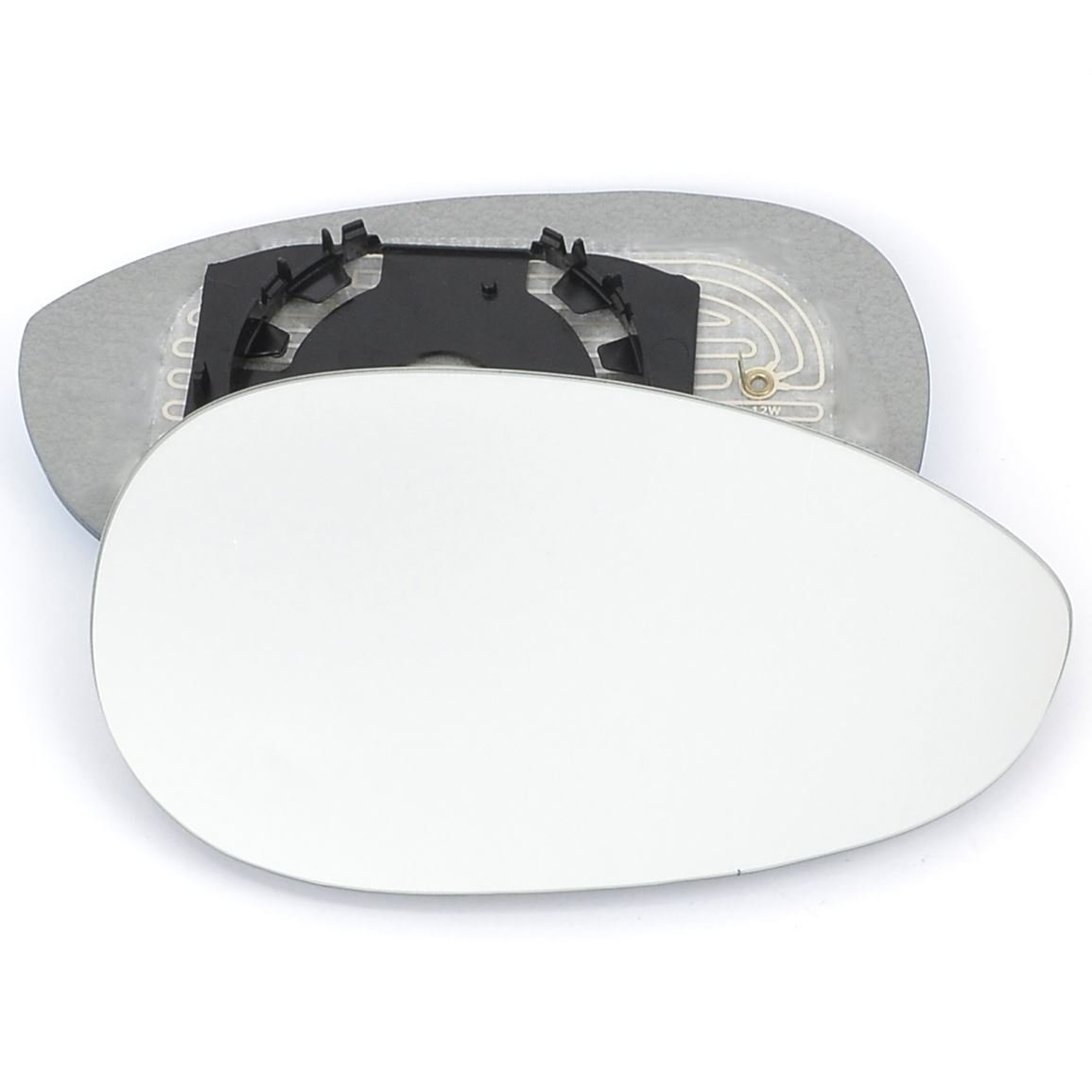 Driver right hand side wing door mirror convex glass heated with backing plate