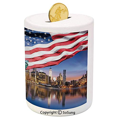 - United States Ceramic Piggy Bank,USA Touristic Concept Collection Statue of Liberty NYC Cityscape Flag Cars Decorative 3D Printed Ceramic Coin Bank Money Box for Kids & Adults,Multicolor