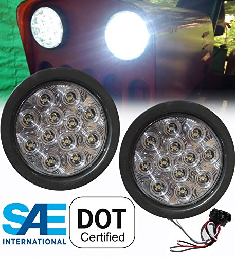 Pair of 2 LED 4 Round Back-up Reverse Light Kits Include Grommet, Plug Clear Lens White Light Truck Trailer RV 25108C-WK