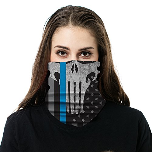 Neck Gaiters Men - Thin Blue Line - Skull - Used as a Shield Elements, Sun Mask Neck Gaiter Balaclava Face Mask Bandanna | Police Appreciation]()