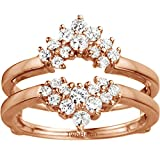 TwoBirch Double Row Prong Set Ring Guard with 0.37 carats of Cubic Zirconia in Rose Gold Plated Sterling Silver