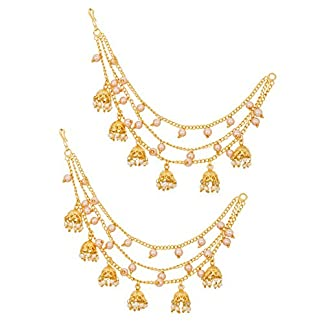 The Luxor Gold Plated Long Chain Jhumki Hair Chain Accessories for Earrings for Women (ACC6138) 51cRQkC7taL