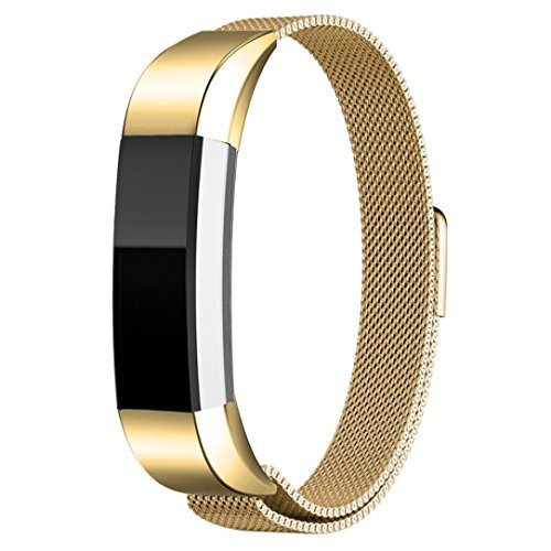 For Fitbit Alta Replacement Bands,HP95(TM) Magnetic Loop Stainless Steel Smart Watch Band For Fitbit Alta HR (Gold)