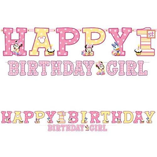 Amscan Minnie Mouse 1st Birthday Jumbo Letter Birthday Banner Kit, Multicolor