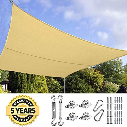 Quictent 20X16FT 185G HDPE Rectangle Sun Shade Sail Canopy 98 UV Block Outdoor Patio Garden with Free Hardware Kit Sand